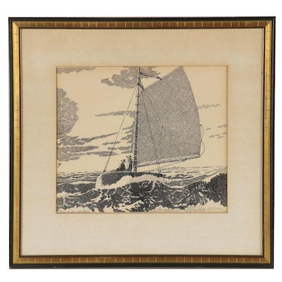 Ink Drawing of a Sailboat, 21st Century