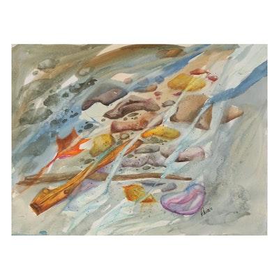 Phiris Kathryn Sickels Beach Scene Watercolor Painting