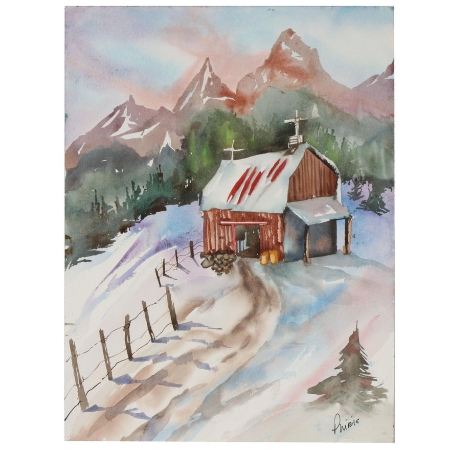 Phiris Kathryn Sickels Double-Sided Watercolor Painting