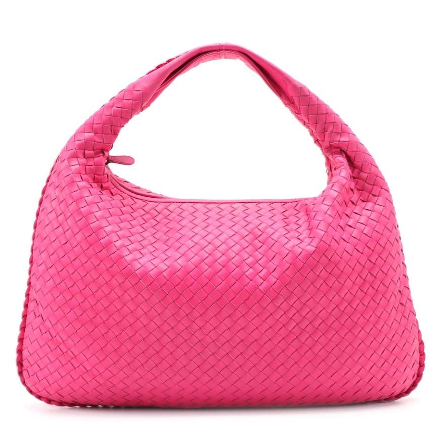 Bottega Veneta Pink Intrecciato Leather Hobo Bag