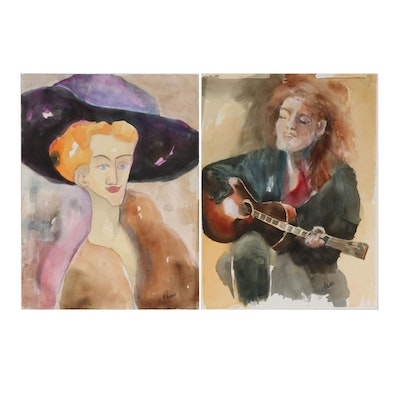 Phiris Kathryn Sickels Portrait Watercolor Paintings