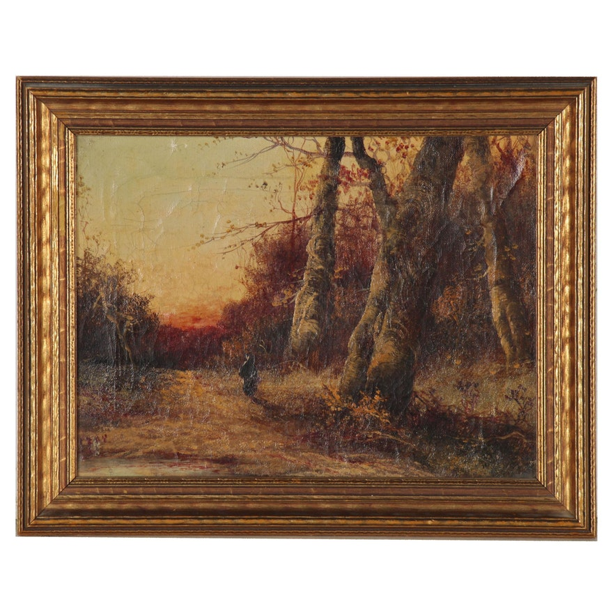 Autumn Landscape Oil Painting, 20th Century