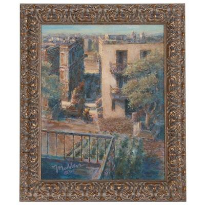 Joseph Madden Cityscape Acrylic Painting, 1997