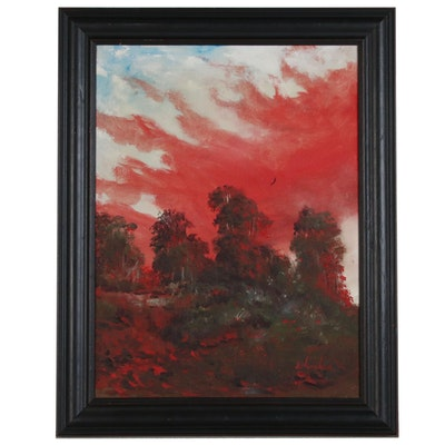 Joe Splendora Landscape Oil Painting, Late 20th Century