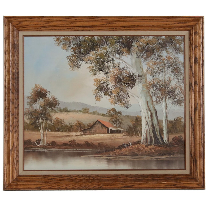 Landscape with Old Gum Tree Oil Painting, Late 20th Century