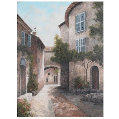 E. Ponthier European Cityscape Oil Painting, 21st Century