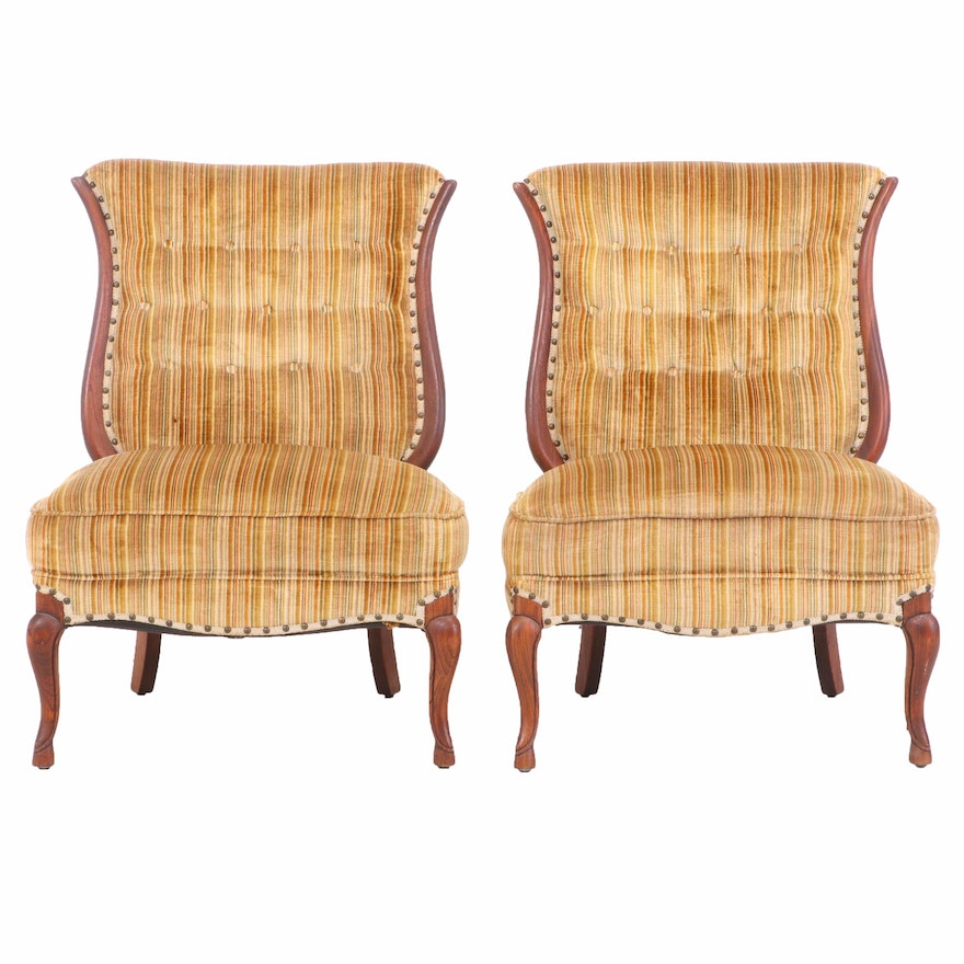 Pair of French Provincial Style Walnut Slipper Chairs, 20th Century