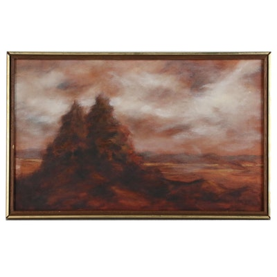Stormy Landscape Oil Painting, Late 20th Century