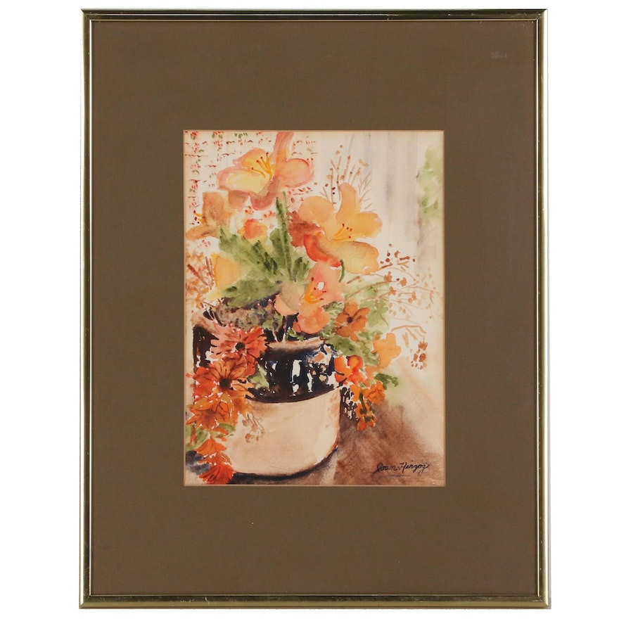 Joan Herzog Watercolor Painting of Bouquet of Flowers, 20th Century