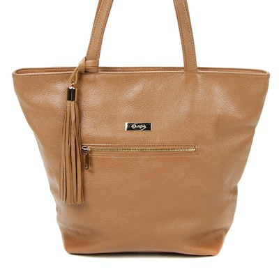 Onna Ehrlich Tote Bag in Light Brown Grained Leather with Tassel