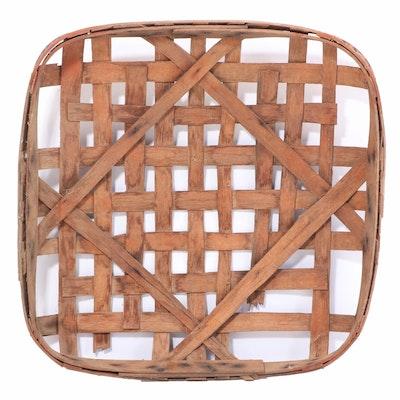 """Splint Oak Tobacco Basket Stamped """"Farmers Ripley , Late 19th/Early 20th C"""