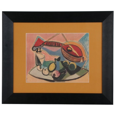 Offset Lithograph after Pablo Picasso Cubist Still Life, Late 20th Century