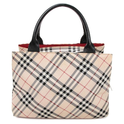"Burberry Blue Label Top Handle Bag in ""Nova Check"" Nylon and Leather"