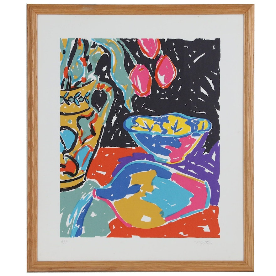 Amy Metier Still Life Modern Serigraph with Tulips, Late 20th Century