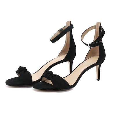 Ann Taylor Erica Black Suede Bow Ankle Strap Sandals