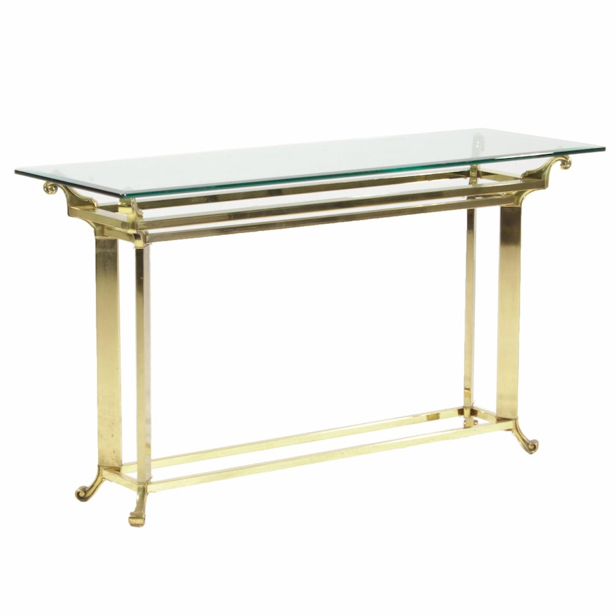 Contemporary Brass Sofa Table with Beveled Glass Top