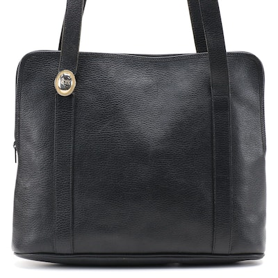 Christian Dior Grained Leather Tote Bag in Black