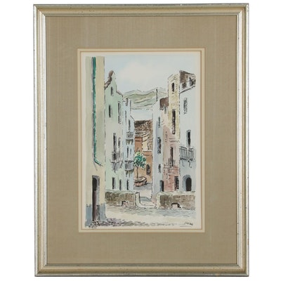 "Landscape Watercolor Painting ""Seville"", Late 20th Century"