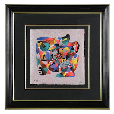 Anatole Krasnyansky Abstract Figural Serigraph, Late 20th Century
