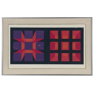 "Brian Halsey Op Art Serigraph ""Alpha-Omega II"", Late 20th Century"