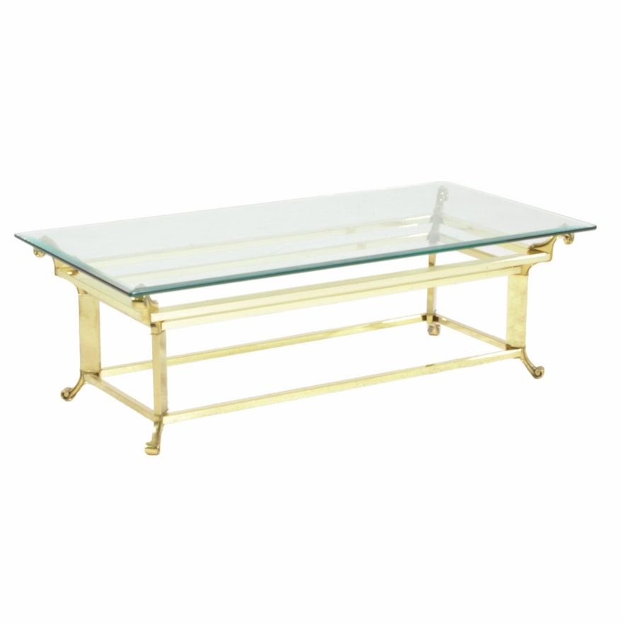 Brass Coffee Table with Beveled Glass Top, 21st Century