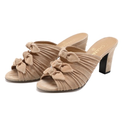 Chanel CC Suede Open Toe Pleated Mule Sandals in Beige with Bows