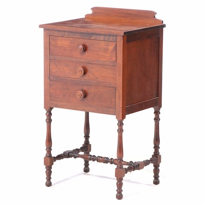Queen Anne Style Walnut Three-Drawer Chest-on-Stand, 20th Century