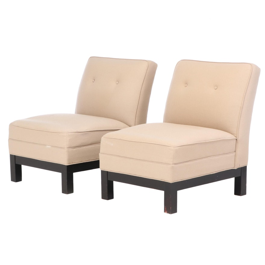 Pair of Contemporary Button Tufted Slipper Chairs