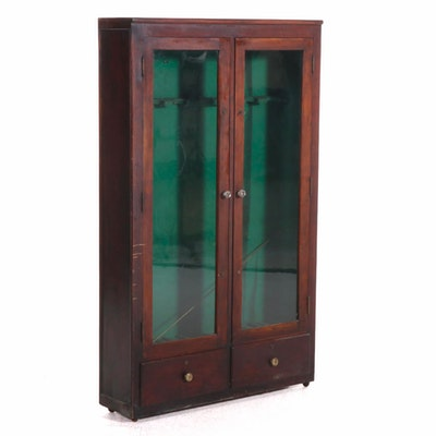 Mahogany Glass Front Gun Display Cabinet on Casters, Early 20th Century