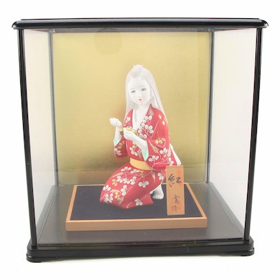 Porcelain Bisque Hakata Doll in Glass Presentation Case