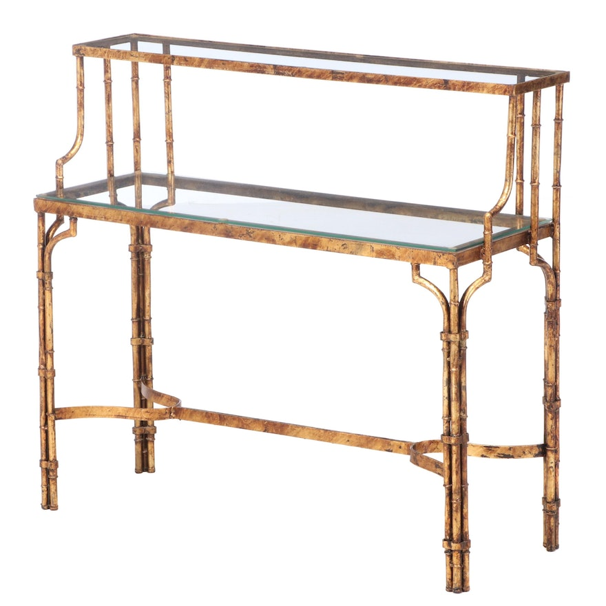 Hollywood Regency Style Gilt Metal and Glass Top Faux-Bamboo Console Table