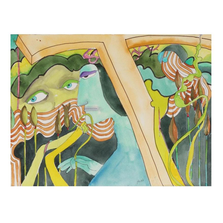 Phiris Kathryn Sickels Abstract Watercolor Painting