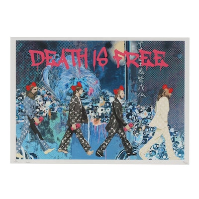 "Death NYC Pop Art Beatles Crossing ""Death is Free"" Graphic Print, 2020"