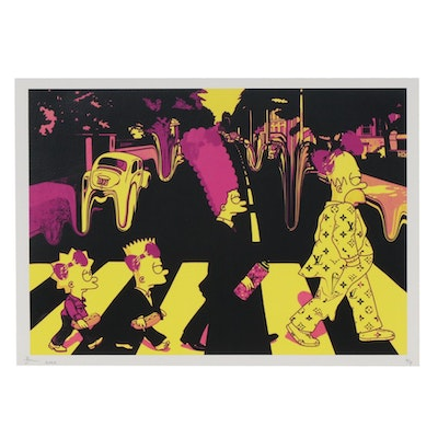 Death NYC Graphic Print of Simpsons Crossing Abbey Road, 2020