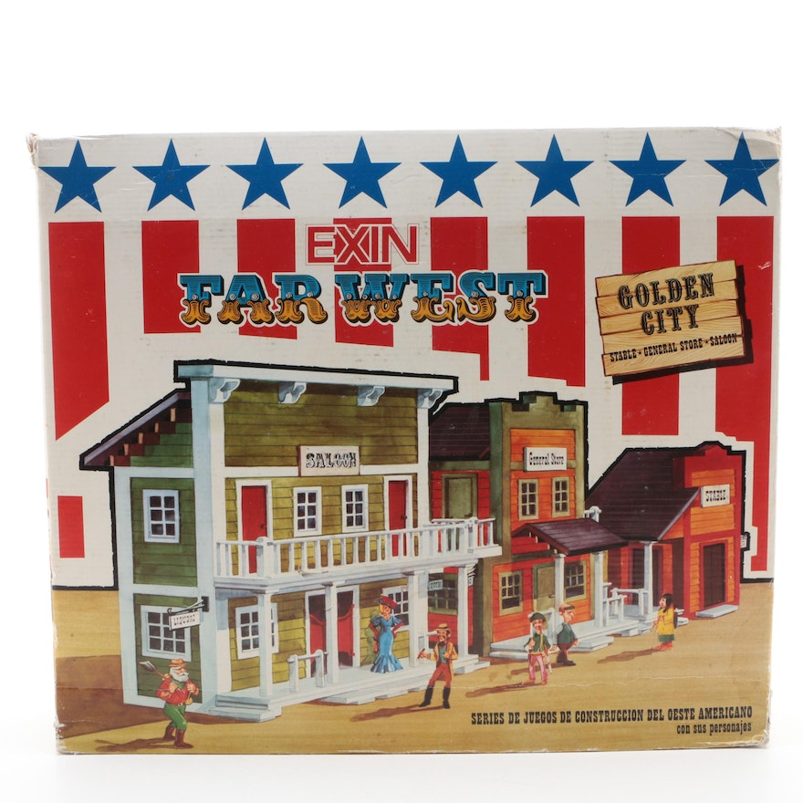 """Exin """"Far West Golden City"""" Play Set in Original Packaging, Made in Spain, 1970s"""