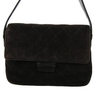 Chanel Flap Front Shoulder Bag in Quilted Black Suede