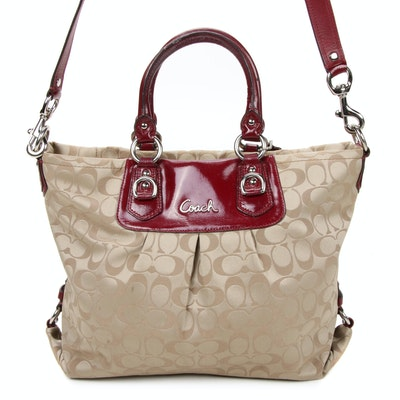 Coach Signature Sateen Ashley Two-Way Carryall Bag Trimmed in Patent Leather