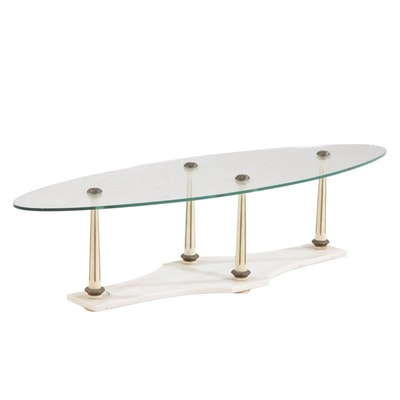 Neoclassical Glass Top Oval Coffee Table with Marble Base, Late 20th Century