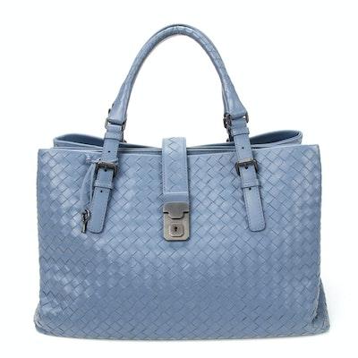 Bottega Veneta Tote Bag in Blue Intrecciato Leather