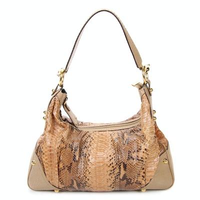 Gucci Python and Taupe Grained Leather Jockey Hobo Bag