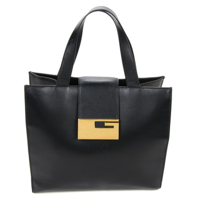 Gucci Black Leather Top Handle Bag with Gold Tone G Flap Closure