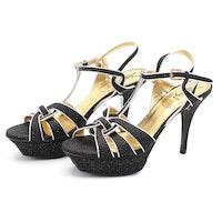 Yves Saint Laurent Tribute 75 Sandal Platform T-Strap Sandals