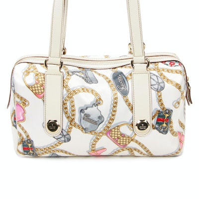 Gucci Charm Chain Satin and Off-White Leather Shoulder Bag