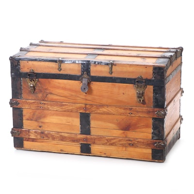 Late Victorian Scrubbed Pine and Iron Trunk, Late 19th or Early 20th Century