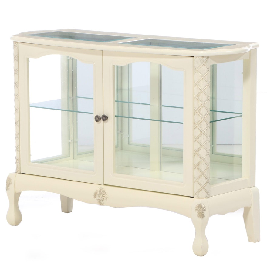 Southern Enterprises Painted and Parcel-Gilt Display Cabinet