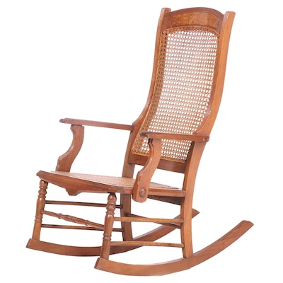 Late Victorian Walnut and Cane Rocking Chair, Late 19th.Early 20th Century