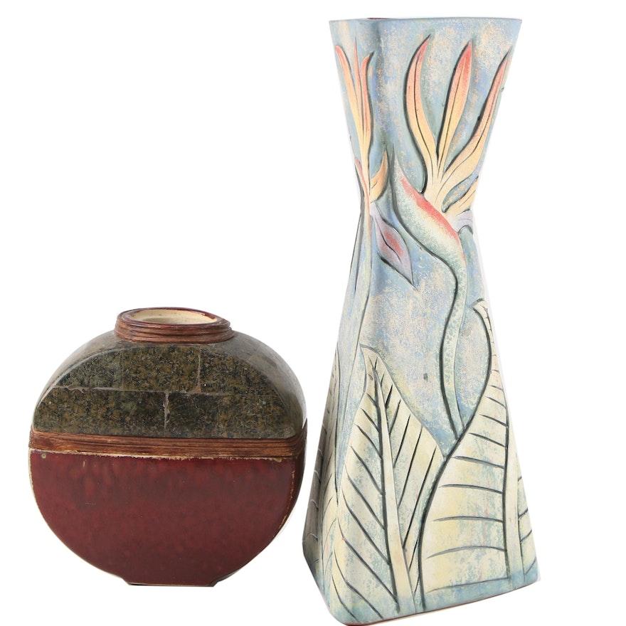 Jamaican Wassi Artisan Ceramic Vase and Japanese Toyo Earthenware Vessel
