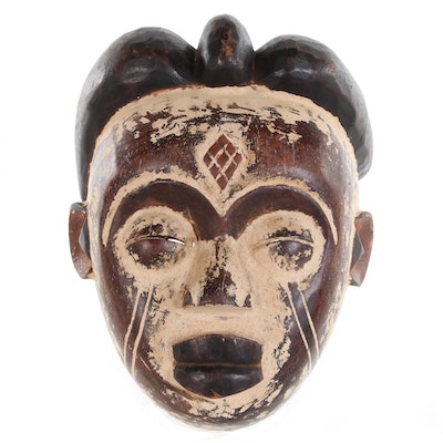 Punu Style Carved Wood Mask, Central Africa