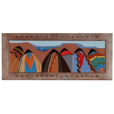 Southwestern Glazed Ceramic Tile Wall-Hanging of Native Americans in Landscape
