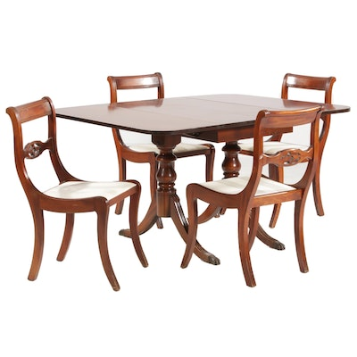 Brickwede Regency Style Five-Piece Dining Set, Early to Mid 20th C.